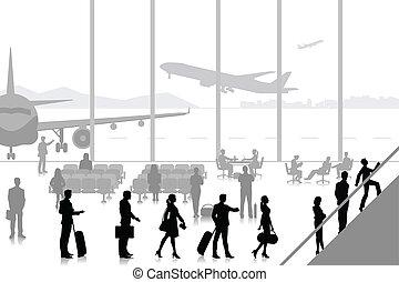 Gente en la sala del aeropuerto
