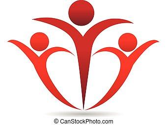 Gente en un logo de abrazos