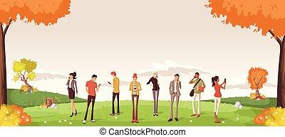 Gente en un parque