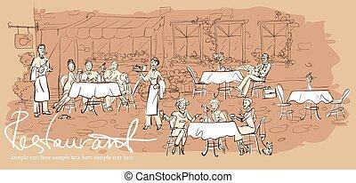 Gente en un restaurante, un café al aire libre, con un fondo horizontal dibujado a mano