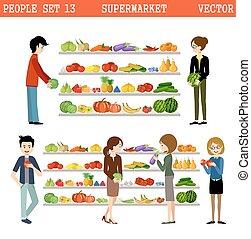 Gente en un supermercado con compras.