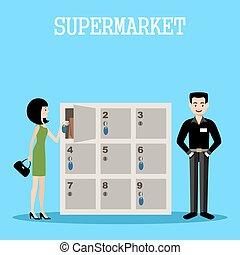 Gente en un supermercado con compras