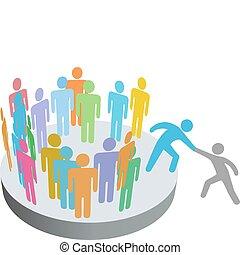 gente, ensamblar, ayuda, persona, miembros, grupo, compañía, ayudante