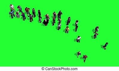 Gente esperando en la línea, pantalla verde