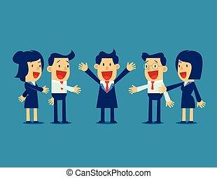 Gente exitosa de negocios con equipo de negocios