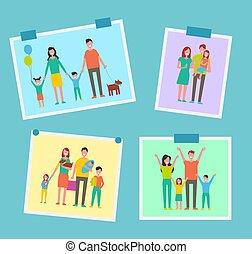 Gente feliz de la familia imagina ilustraciones vectoriales
