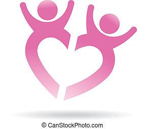 Gente feliz formando corazón