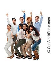 Gente feliz, grupo de negocios juntos