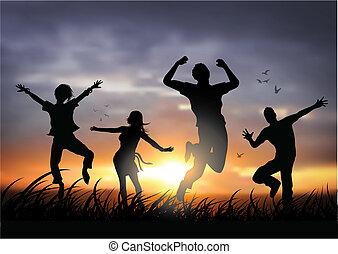 Gente feliz saltando
