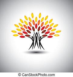 Gente feliz y alegre como árboles de la vida, vector de eco concepto.