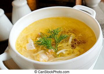 gente, fideo de pollo, porción, no, pequeño, soup.