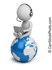 gente, global, -, director, pequeño, 3d