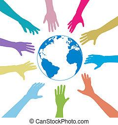 gente, globo, alcance, colores, manos, tierra, afuera