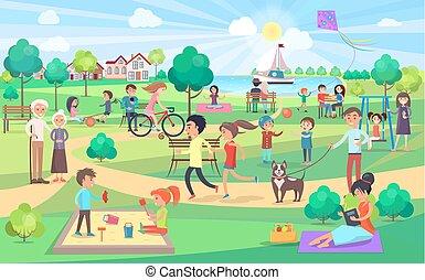 gente, grande, todos, día, parque, verde, agradable, edades
