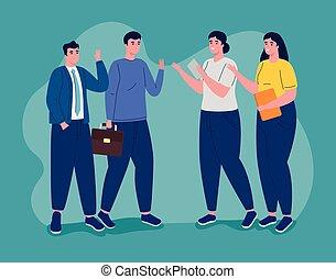 gente, grupo, empresa / negocio, cuatro, caracteres, avatars