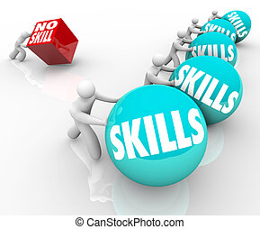 gente, habilidades, hábil, competición, unskilled, contra, no, habilidad
