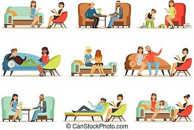 Gente hablando con psicólogos. Pacientes en una recepción en los psicoterapeutas. Terapia psicológica, ilustraciones coloridas