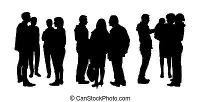 Gente hablando entre sí siluetas, set 1