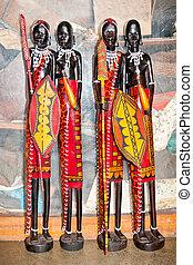gente, handcraft, oscuridad, madera, figuras, tallado, africano