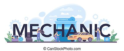 gente, header., tool., utilizar, tipográfico, reparación coche, mecánico, profesional