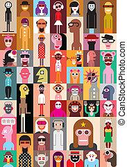 gente, ilustración, vector