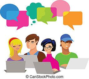 Gente joven con burbujas de habla y computadoras