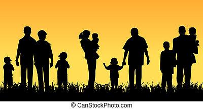 Gente joven con hijos