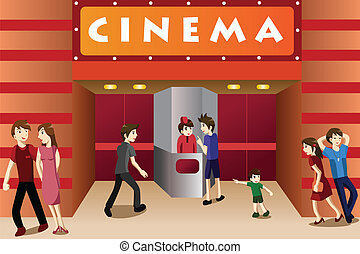 Gente joven pasando el rato fuera de un cine