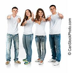 Gente joven sonriendo
