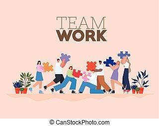gente, letras, trabajo equipo, grupo, artículos del rompecabezas