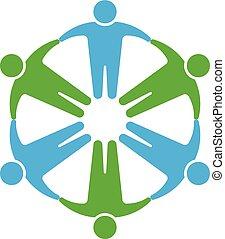 Gente logotipo. Manos en círculo