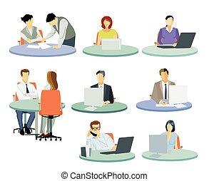 gente, lugaresde trabajo, escritorio, illustration.eps, oficina, trabajando