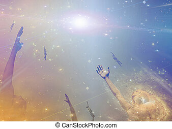 gente, luz, entre, altísimo, estrellas, hacia