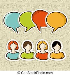 gente, medios, encima, conexión, social, patrón