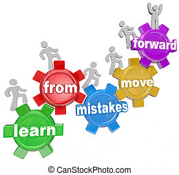 gente, movimiento, errores, engranajes, aprender, delantero, montañismo