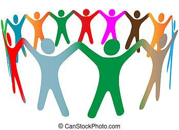 gente, muchos, símbolo, arriba, colores, diverso, manos, anillo, asimiento, mezcla