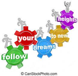 gente, nuevo, alturas, engranajes, seguir, montañismo, su, sueños