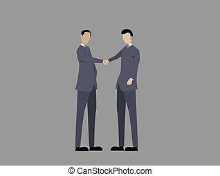 gente, o, manos, dos, apretón de manos, empresa / negocio, sacudida