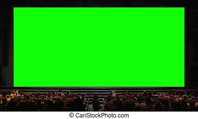 gente, pantalla, auditorio, chroma, llave