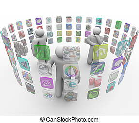 gente, paredes, tacto, apps, elegir, proyectado, pantalla