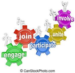 gente, participar, ensamblar, implicar, engranajes, ocupar, montañismo