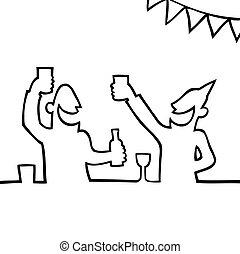 gente, partying, dos, bebidas