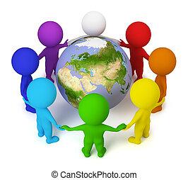 gente, paz, -, pequeño, tierra, 3d