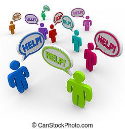 Gente pidiendo ayuda en las burbujas de habla