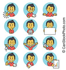 Gente plana iconos con personajes de negocios.