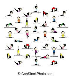 Gente practicando yoga, 25 poses para tu diseño