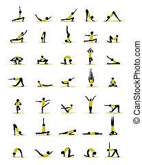 Gente practicando yoga, poses para tu diseño
