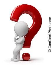 gente, -, pregunta, complicado, pequeño, 3d