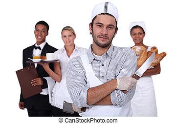 Gente que trabaja en el sector de servicios