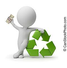 gente, reciclaje, -, pequeño, pago, 3d